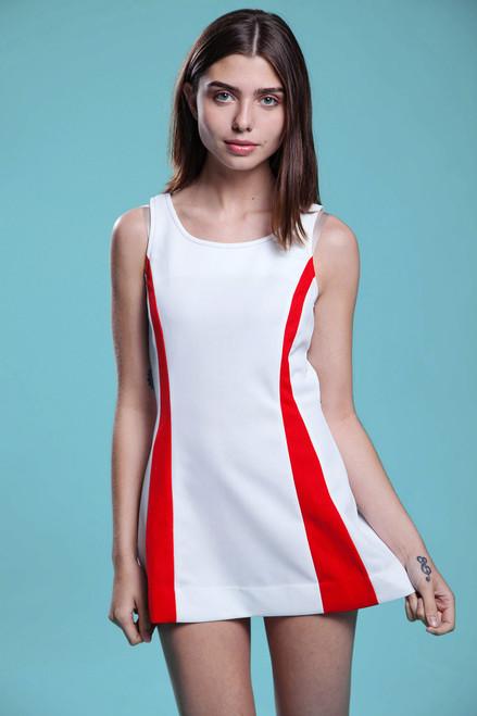tennis dress MOD white red micro mini sleeveless a-line sporty vintage 60s SMALL MEDIUM S M