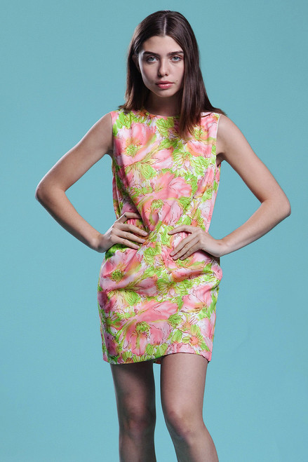 floral shift micro mini dress pink green watercolor print MOD sleeveless vintage 60s SMALL S