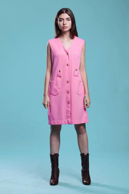 pocket dress long jacket duster sleeveless barbie pink gold buttons vintage 60s MEDIUM M