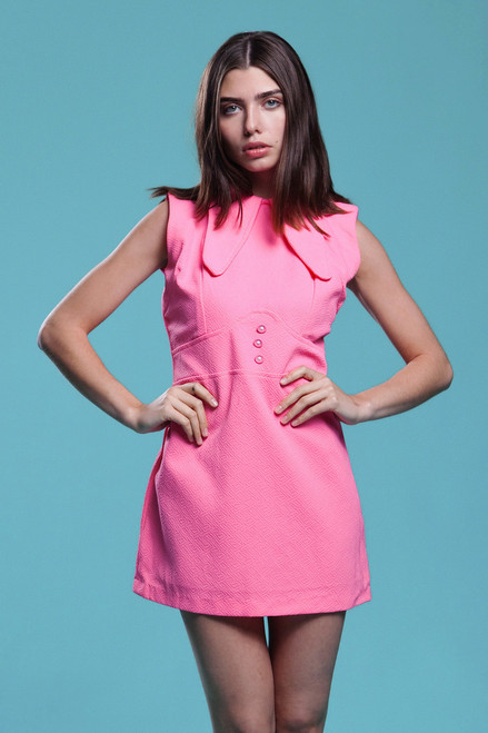 micro mini dress dog ear collar neon pink sleeveless MOD vintage 60s LARGE L