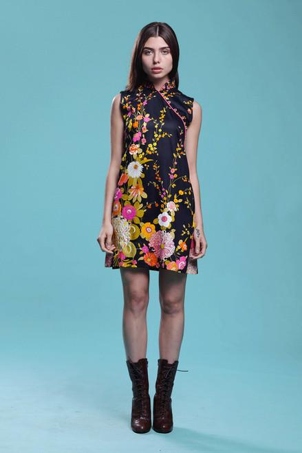 Cheongsam mini dress printed cotton chrysanthemum floral Asian Chinoiserie vintage 60s SMALL MEDIUM S M