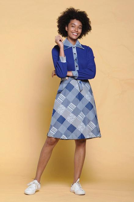 unworn vintage 70s shirtwaist dress belted navy blue white plaid pointy collar long sleeves MEDIUM M