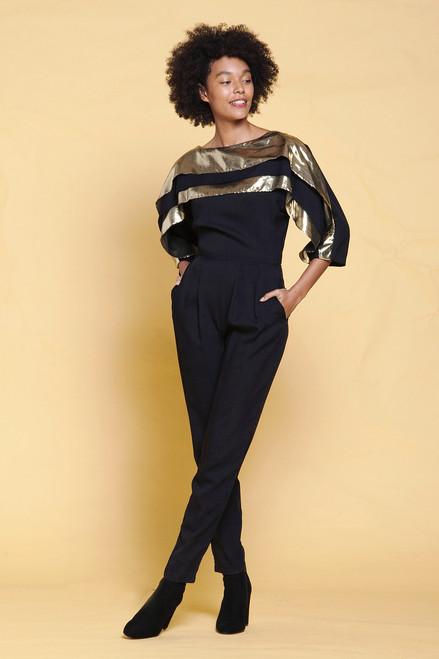 jumpsuit pantsuit black gold metallic pleated tapered legs half sleeves vintage 80s SMALL S