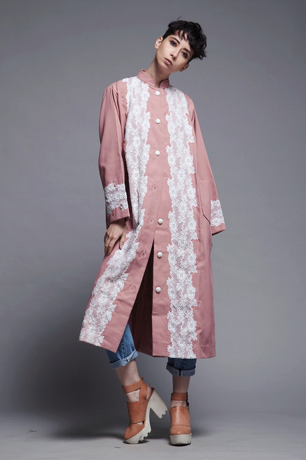 pleated spring coat duster dress mauve white lace long sleeves vintage 80s L XL LARGE extra large