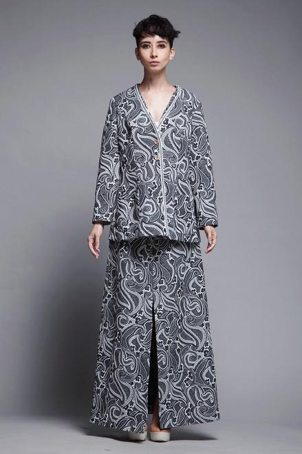 2-piece dress skirt tunic top matching set black white paisley long sleeves maxi vintage 70s LARGE L