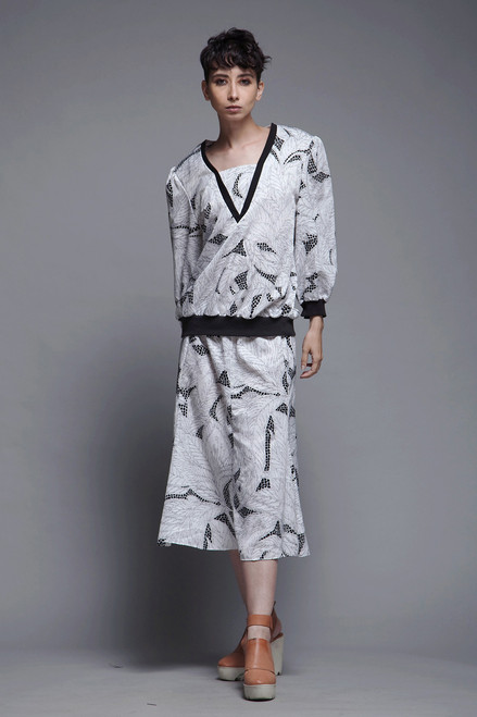 2-piece secretary dress top skirt matching set black white leaf print vintage 80s LARGE L