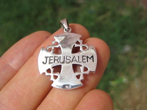 925 sterling silver jerusalem cross fivefold cross crusaders cross 925 sterling silver jerusalem cross fivefold cross crusaders cross emblem medal pendant necklace a12 aloadofball Images