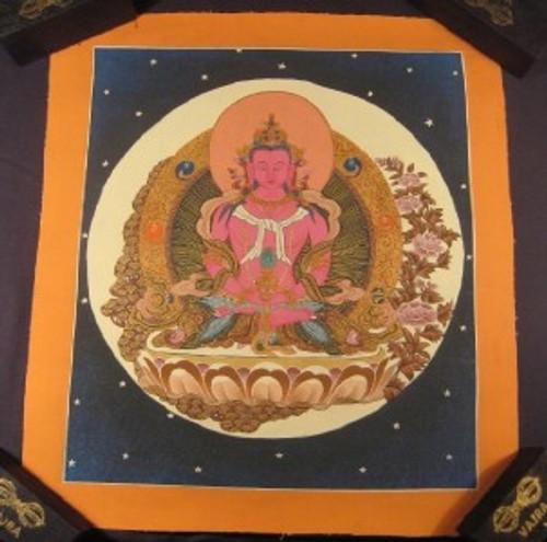24 K Gold Cosmic Pink Shakyamuni Buddha Thangka Thanka Painting Nepal art