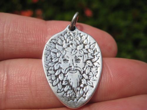 925 Silver Viking Green Man Frey Odin Osiris Pagan Pendant Necklace A13