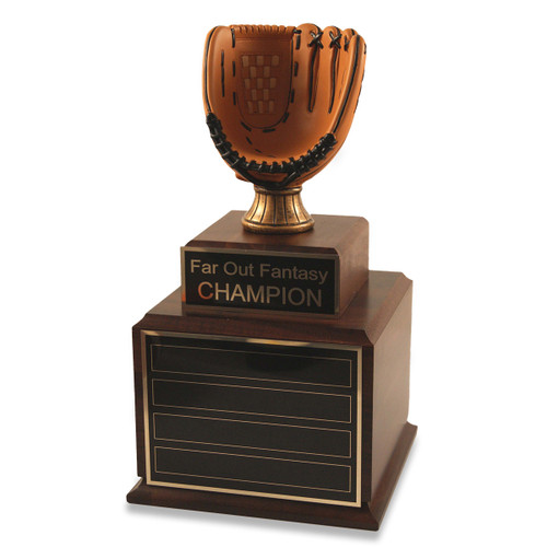 Perpetual Wood Fantasy Baseball Glove Trophy