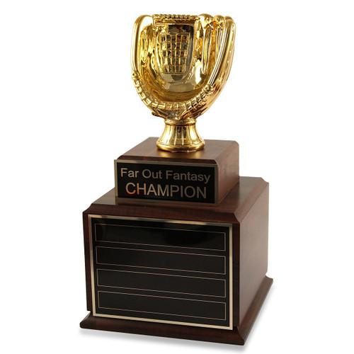 Perpetual Wood Fantasy Baseball Gold Glove Trophy