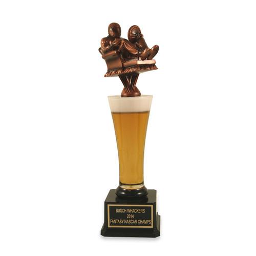 Fantasy Armchair NASCAR man beer trophy
