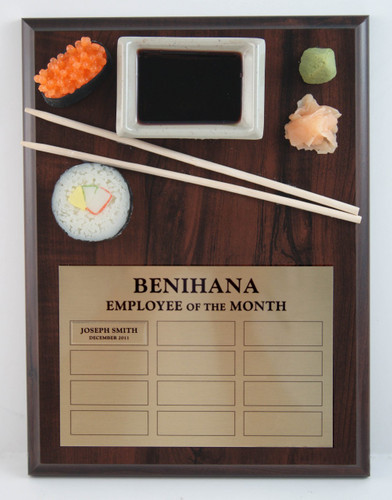 Employee of the Month Sushi Award Plaque