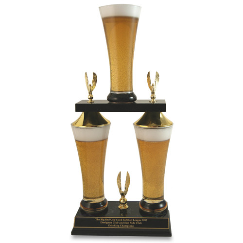 Customize this beer trophy by adding any item inside or on top of the beers!
