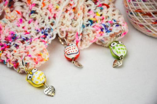 Ceramic Owl Stitch Markers