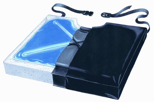 """Gel-Foam 16"""" X Cushion, w/Coccyx Cutout w/LSI Cover"""