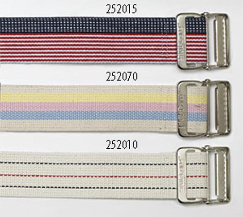 """Cotton Gait Belt, 72"""", Heavy-Duty Webbing, Metal Buckle - Pinstripe"""