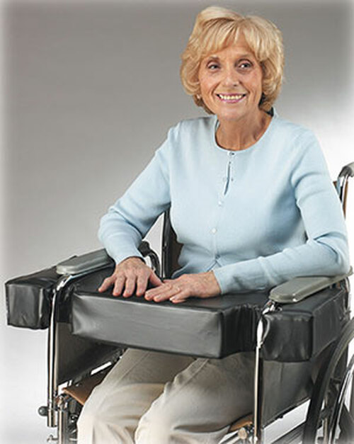 """Lap Top 4"""" Thick Cushion w/Cutouts for Half-Arm Wheelchairs, Fits 18"""" W/C"""
