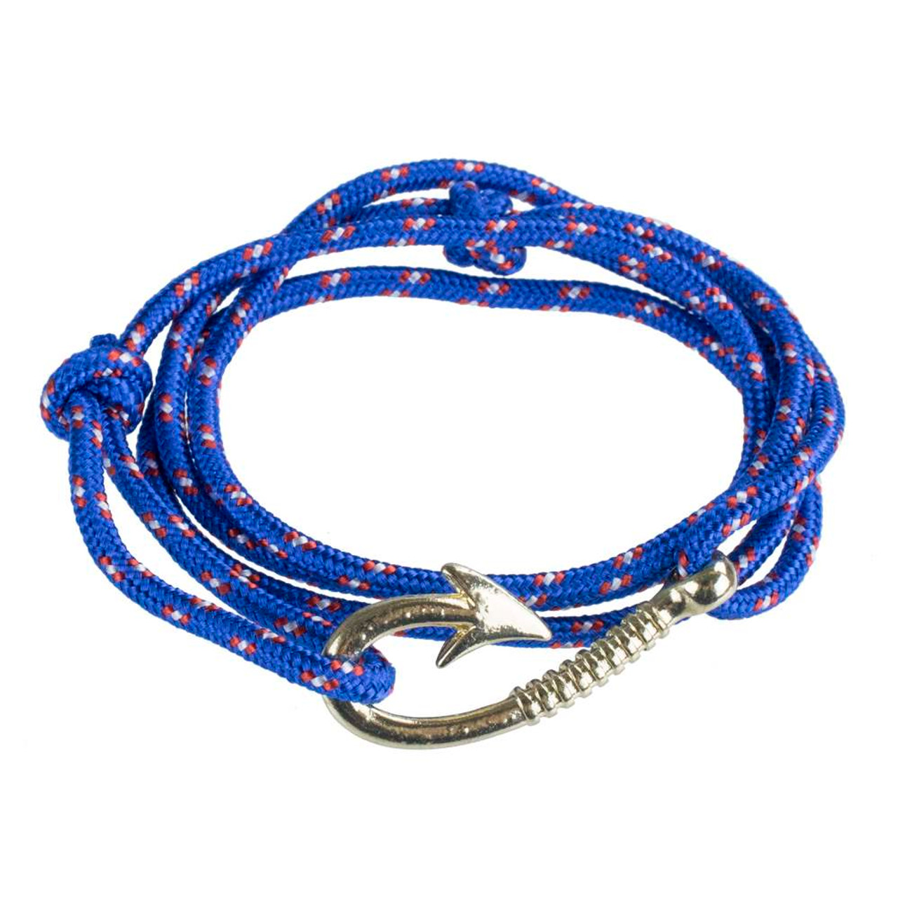 Paracord Wrap Bracelet With Anchor Hook Clasp Royal Blue
