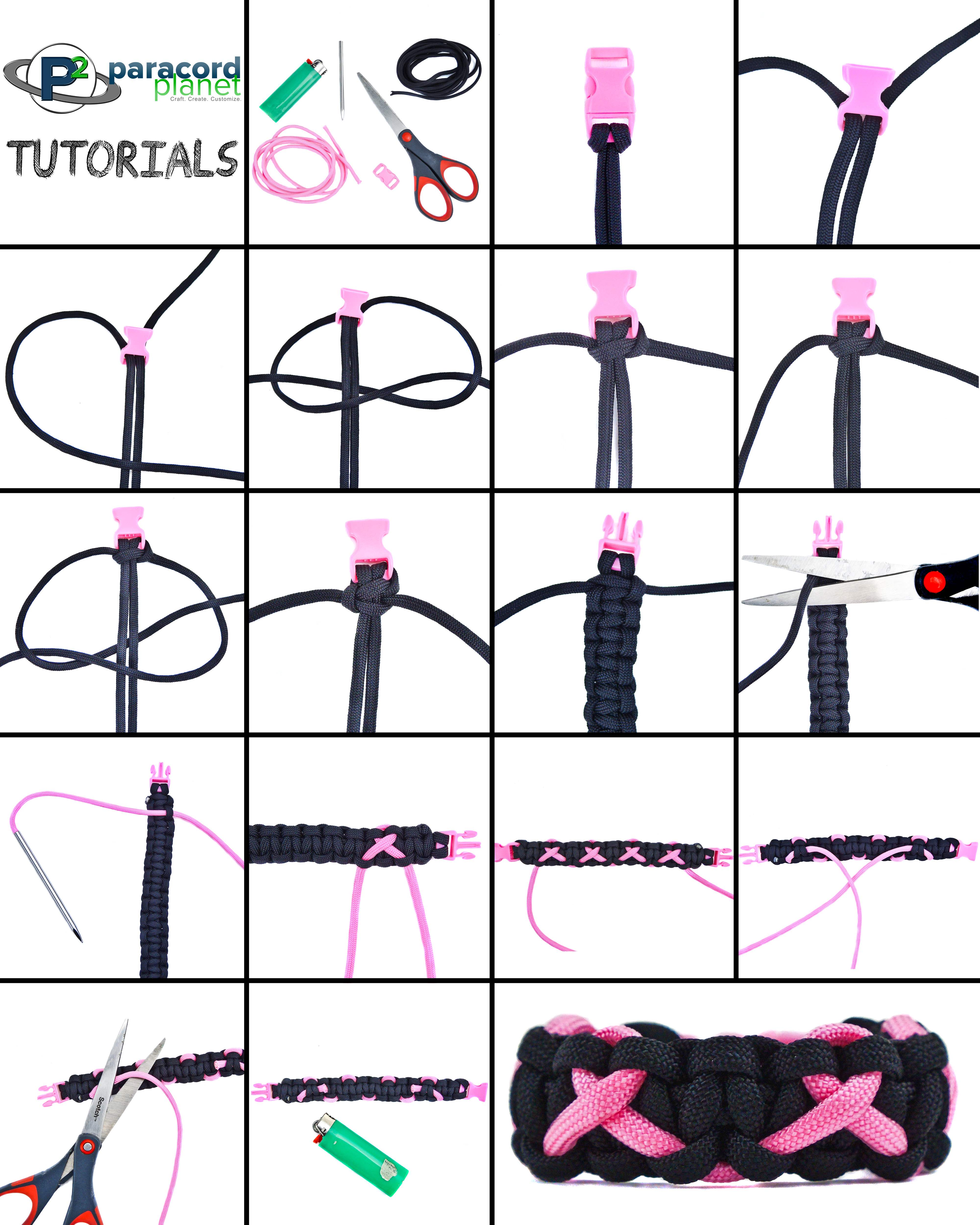 Paracord Breast Cancer Awareness Bracelet photo tutorial