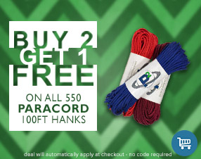 Buy 2 get 1 free on all 550 paracord 100ft hanks