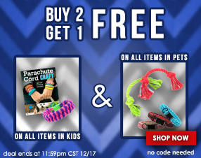 Buy two get one free on all items in Kids and Pets