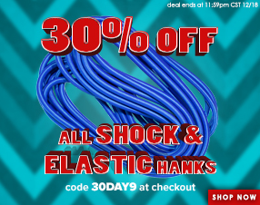30% off all shock and elastic hanks