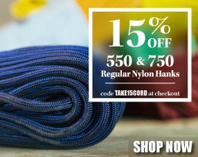 15% off 550 & 750 regular nylon hanks