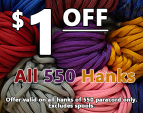 $1 off all 550 paracord hanks