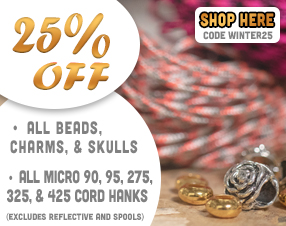 25% off all beads, charms and skulls. 25% off all micro 90, 95, 275, 325, and 425 cord hanks