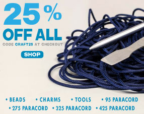 25% off all paracord beads, charms, tools, 95 paracord, 275 paracord, 325 paracord, 425 paracord
