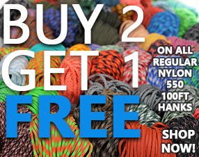 Buy 2 Get 1 Free on all regular nylon 550 100ft hanks