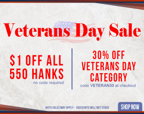 $1 off all 550 hanks and 30% off veterans day category