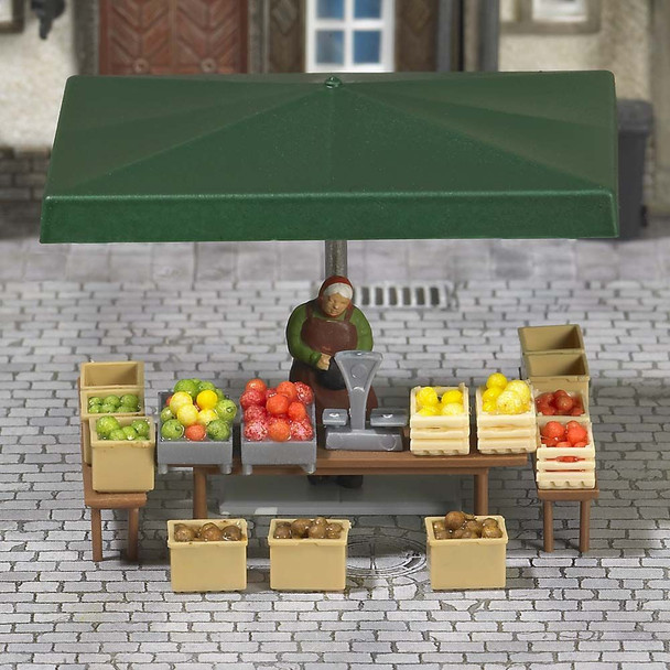 BUSCH 7706 Fruit & Vegetable Stall & Seller 00/HO Model Accessories