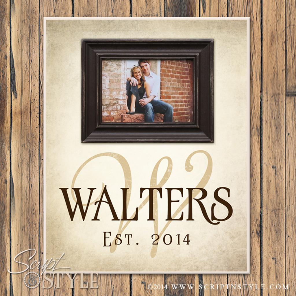 Personalized Picture Frame With Family Name and Established Date