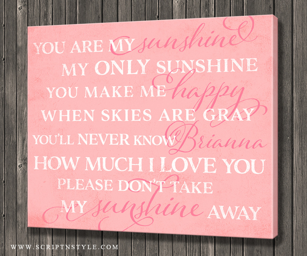 Personalized You Are My Sunshine Canvas Sign