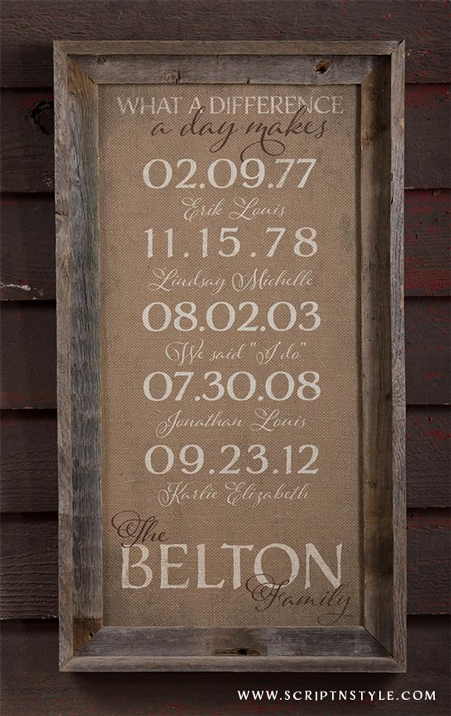burlap important dates sign