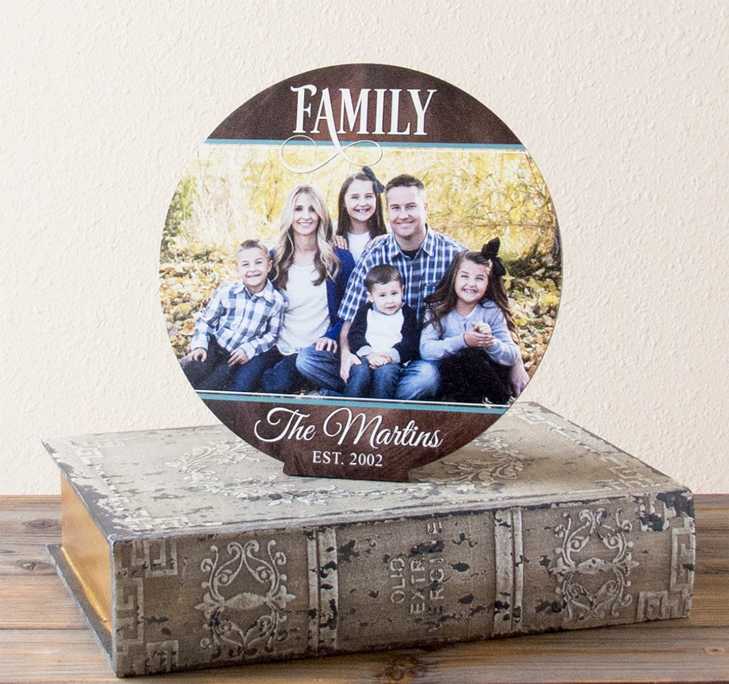 Wood Family Established Sign With Photo Stand Up Display