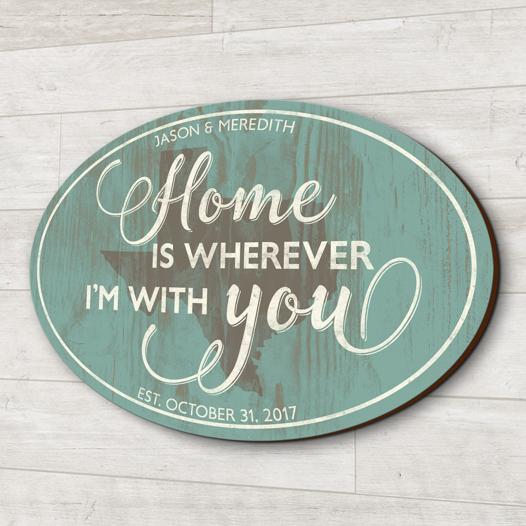 Wood family sign - Home is wherever I'm with you
