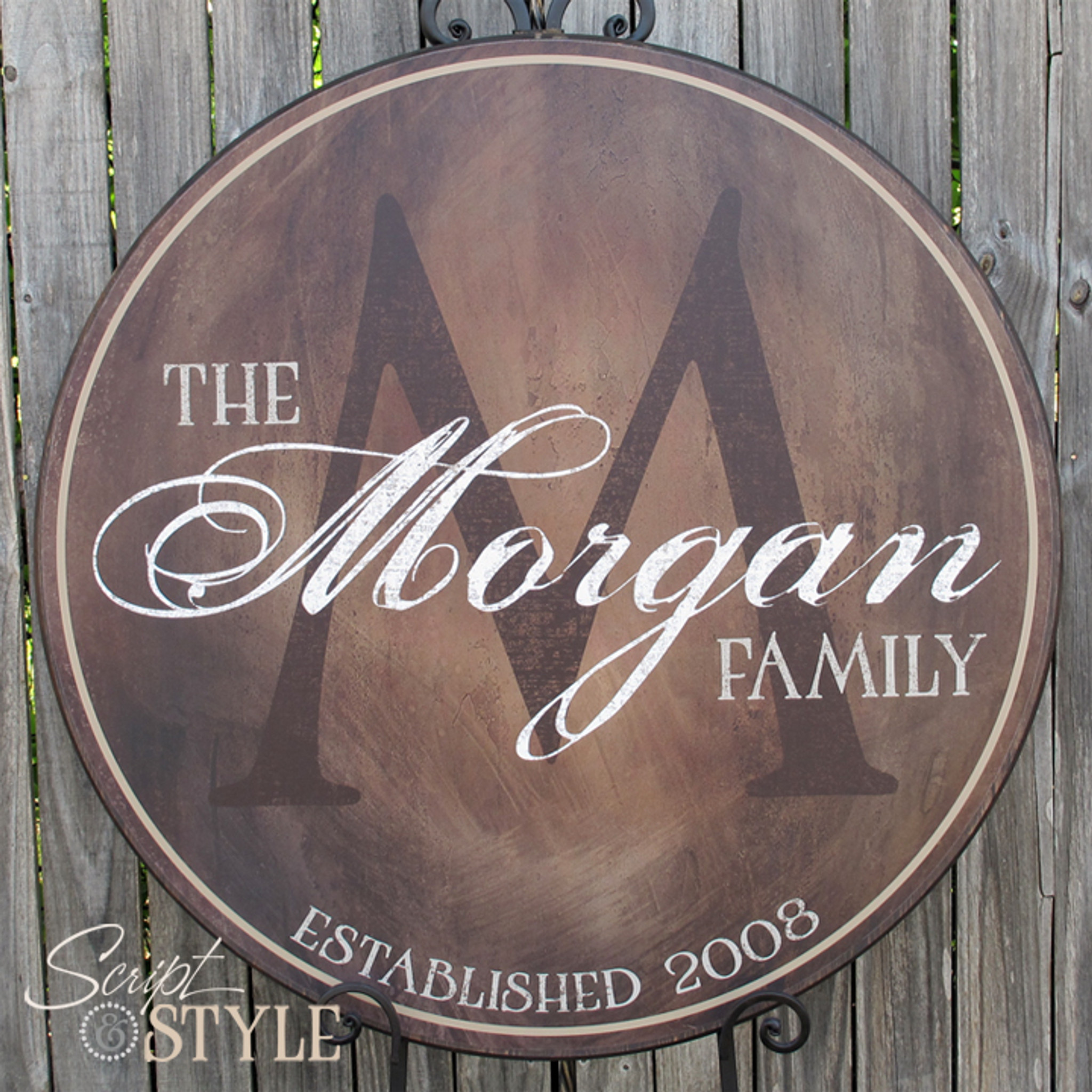 Personalized wood family name sign dark brown for Last name pictures architecture