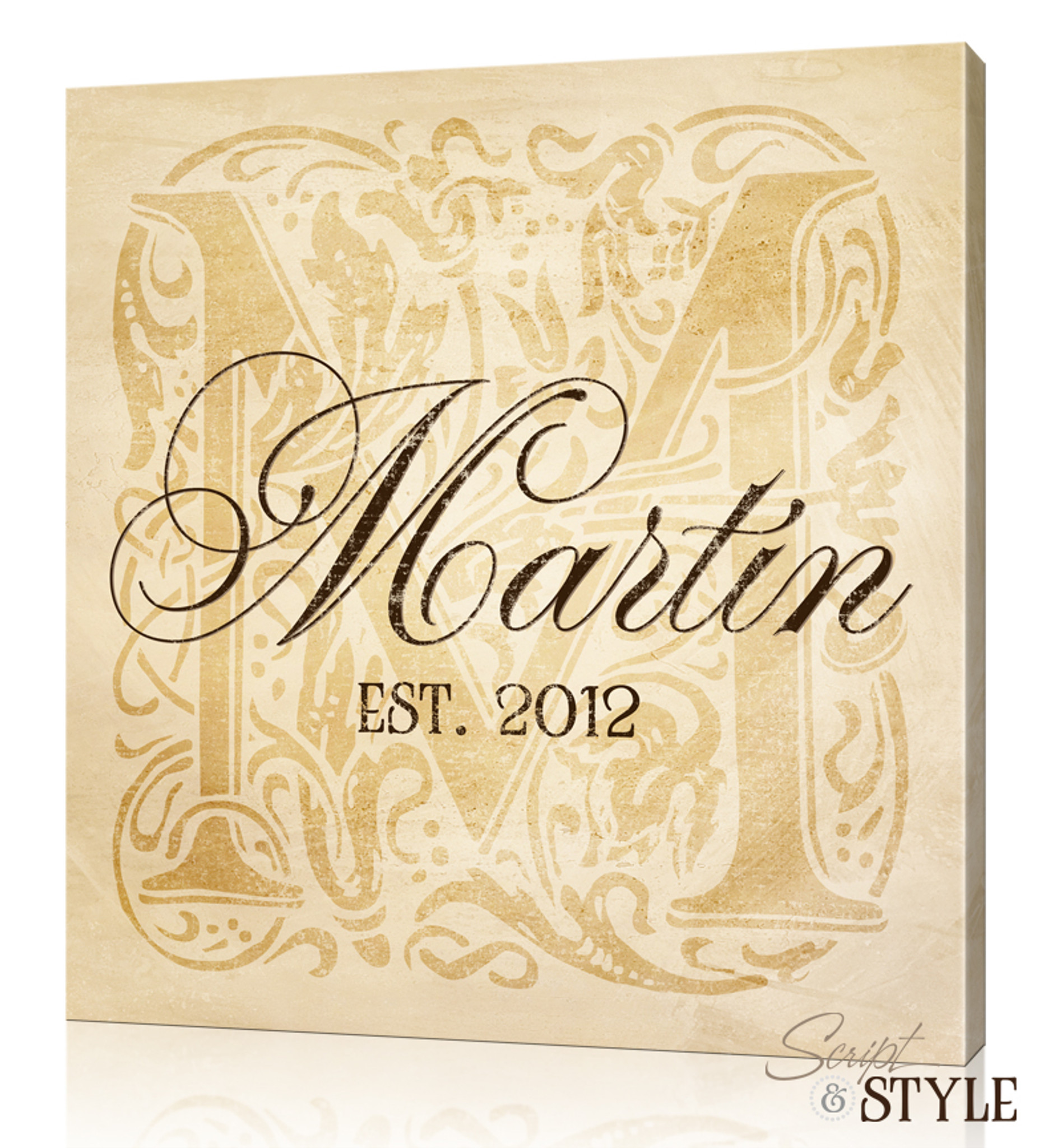 Last Name Canvas Wall Art with Monogram - Script and Style