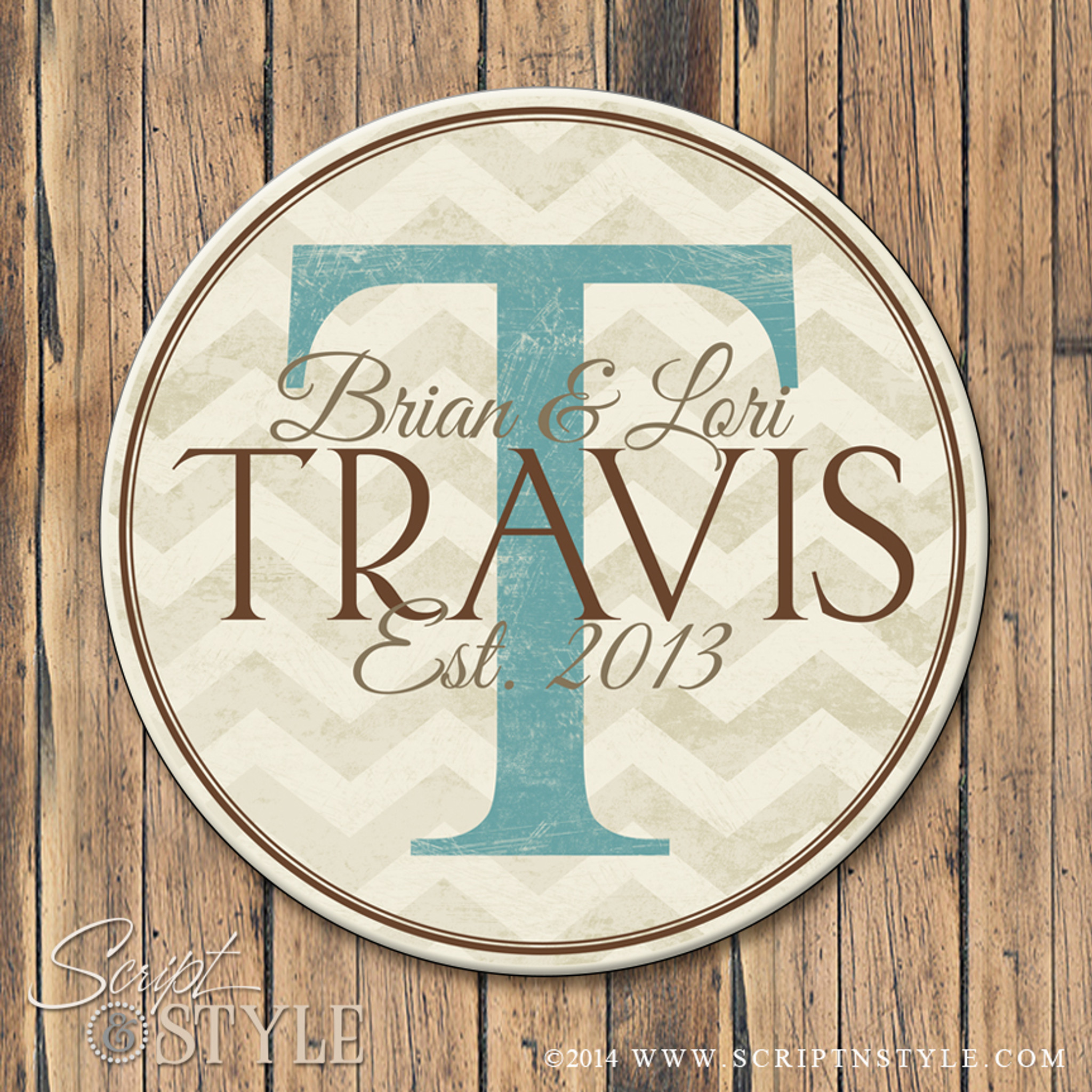 Personalized chevron last name established sign for Last name pictures architecture