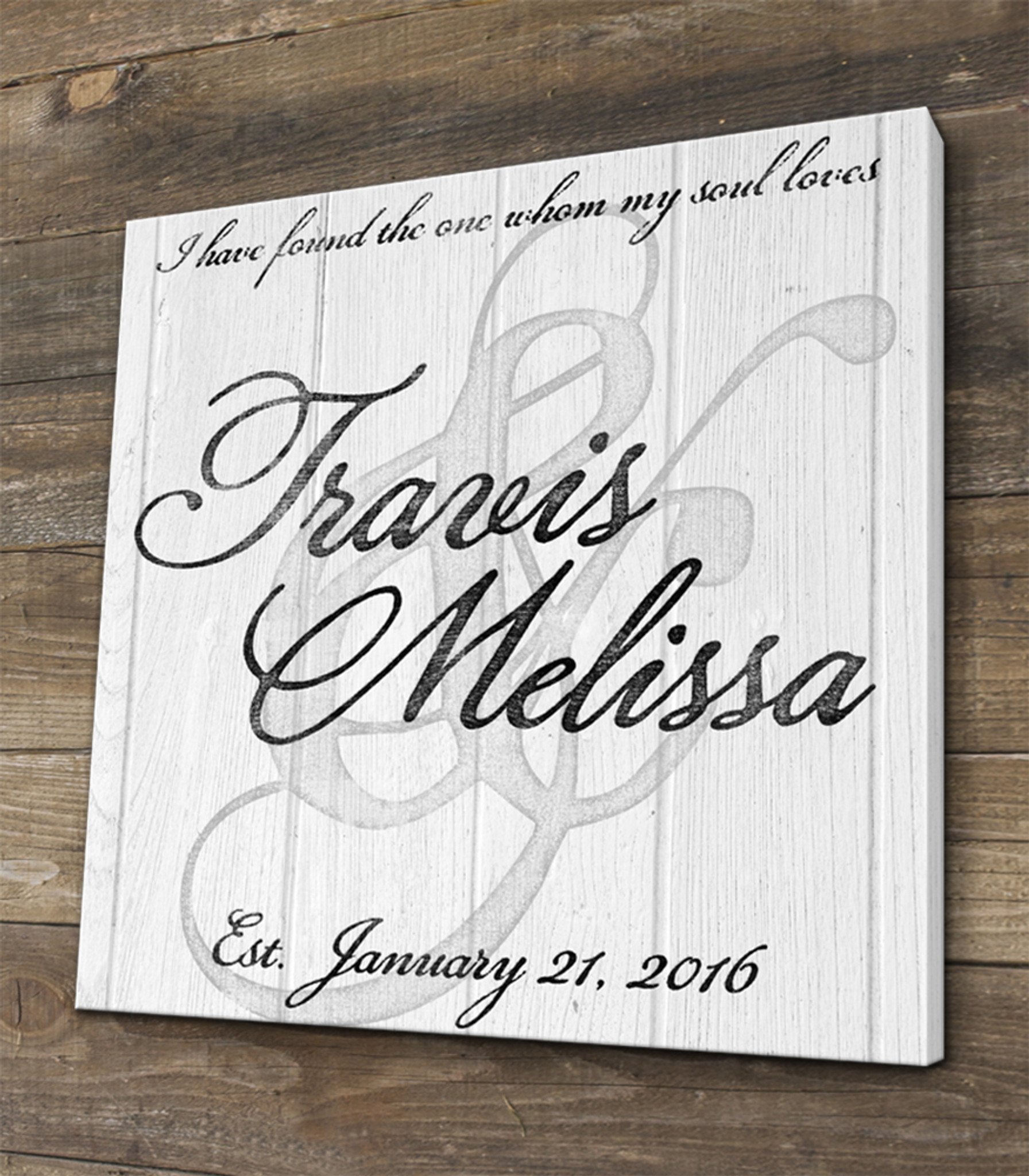 Personalized Wedding Canvas: Personalized Family Name Wedding Sign