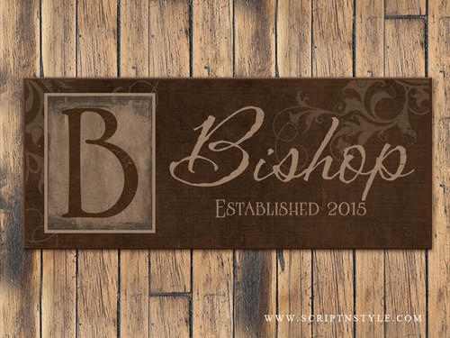 Personalized Family Name Sign with Monogram