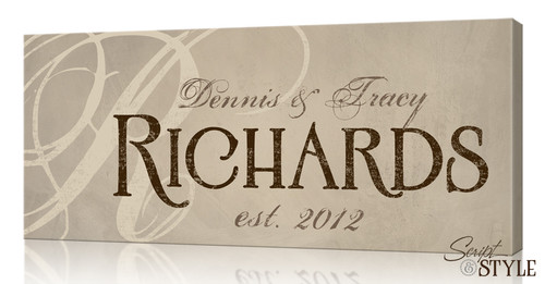 Personalized family name canvas print
