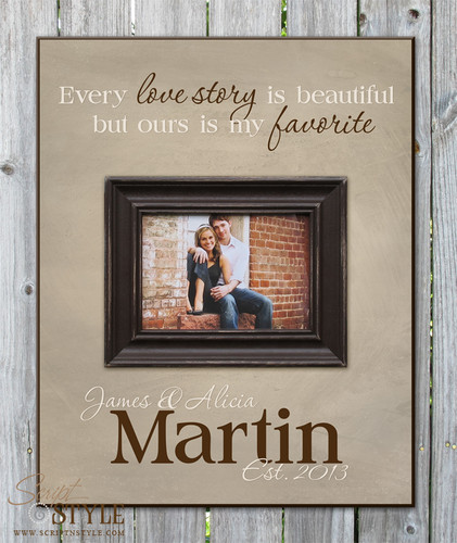 Personalized picture frame with quote, Stone