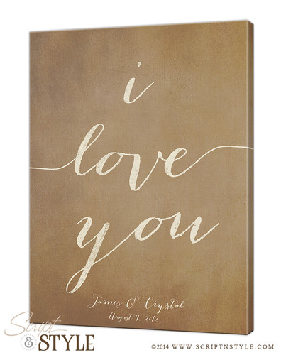 Personalized I Love You Canvas/Tan Cream