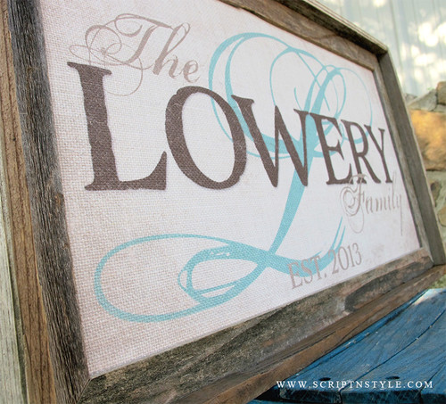 burlap family established sign