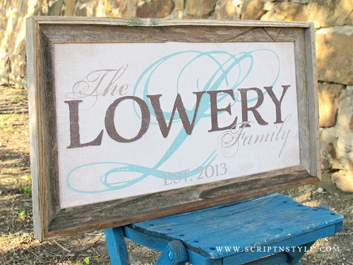 personalized burlap family established sign