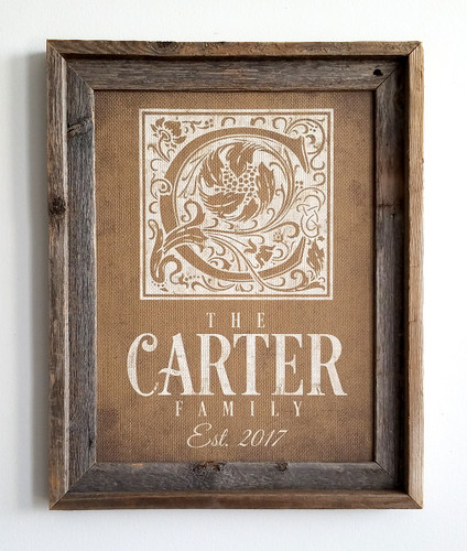Personalized burlap monogram sign